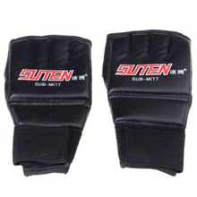 JHO-SUTEN PU Half Mitts Mitten MMA Muay Thai Training Punching Sparring Boxing Gloves Black+Red