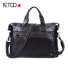 AETOO Business Leather Men 's Bag Leisure Casual Messenger Messenger Briefcase Head Layer Leather Men' s Bag(China)