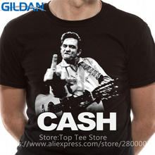 Low Price Tees Short Top O-Neck Johnny Cash The Finger Photo T Shirt For Men(China)
