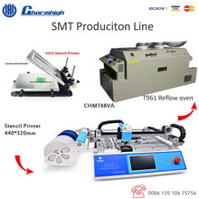 Small SMT Production Line CMHT48VA Pick and Place Machine + Stencil Printer + T961 Reflow Oven 730*230mm English Version 220v