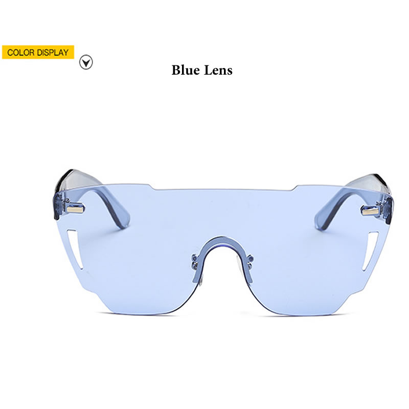 New Ladies One Piece Lens Rimless Sunglasses Women High Quality Plastic Glasses Style Sun Glasses Men Brand Designer 2017