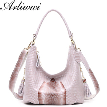 Arliwwi Brand Elegant Snake Head Pattern Real Leather Lady Tote Hobos Designer Shiny Serpentine Bags Women Genuine Leather New