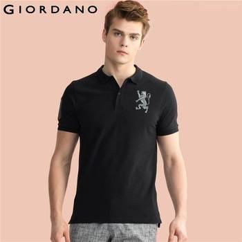 Giordano homens polo sólida gola mangas curtas polos pique de algodão leão tops mens roupas de marca de verão camiseta