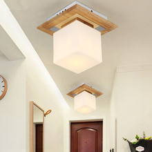 Modern Chinese Style LED Ceiling Lamp Creative Living Room Bedroom Restaurant Wooden Glass Ceiling Light Free Shipping