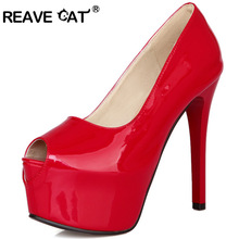 REAVE CAT Big size 32-42 Spring summer Women shoes high heels Peep toe Platform Patented leather wedding shoes Party Pump QL3678