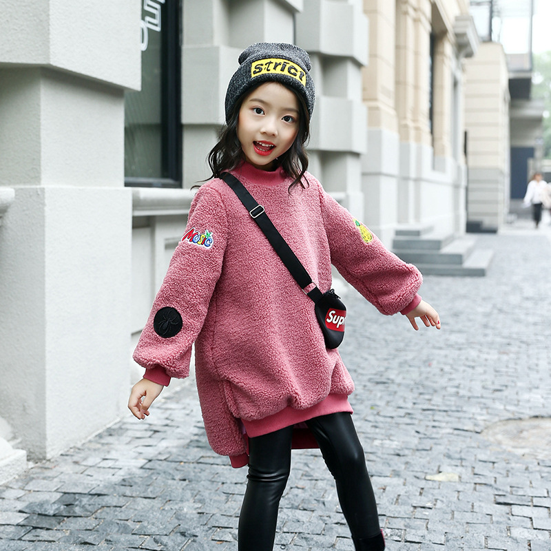 Winter Children Clothing Sets Kids Girls Long Plus Velvet Thick Sweatshirts Dress + PU Leather Legging Pants Girls Clothes Set<br>