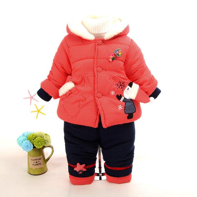 Baby Girl Winter Clothing Set Newborn Baby Warm Snowsuit Toddler Girl Jacket Outerwear Coat + Pant Infant Baby Chrismas Suit<br>