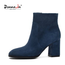 DONNA-IN genuine leather women boots natural suede leather ankle boots fashion square toe thick high heel ladies shoes for women(China)