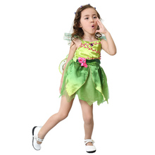 Vocole Children Girl's Deluxe Green Tinkerbell Fairy Costume Tinker Bell Princess Fancy Dress Halloween Cosplay Clothing