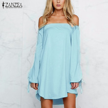 ZANZEA New Women Sexy Mini Dress 2017 Ladies Off Shoulder Slash Neck Long Bowknot Sleeve Tops Casual Loose Solid Short Vestidos