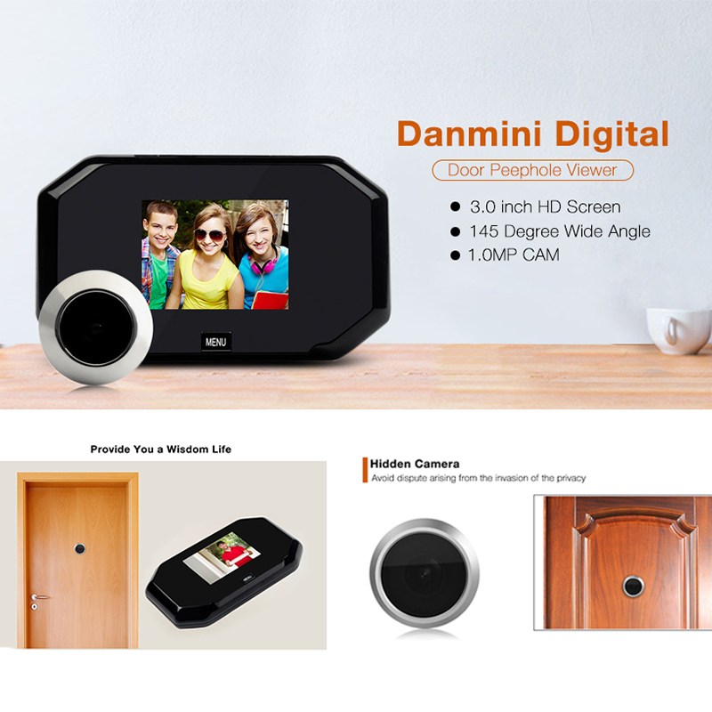 Danmini YB-30BH Video Intercom 1.0MP 3.0 inch TFT Wide Angle Video Record Photo Shooting Hidden Digital Door Peephole Viewer<br>