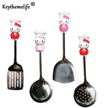 Keythemelife Hello Kitty Kitchenware Stainless Steel Spatula Spoon Colander Multi-Purpose Kitchen Tools Utensils B8(China)