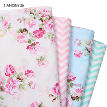 TIANXINYUE 4pcs/lot Rose wave Cotton Fabric Patchwork DIY Quilting Sewing Fat Quarters Bundle Tissue Telas Tilda Needlework(China)