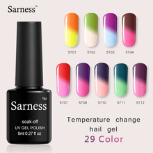 Sarness Soak-off Nail Lacquer Gel Varnish 39 Colors 8ml Temperature Changing Color Nail Gel Polish Primer Lucky UV Gel Lacquer