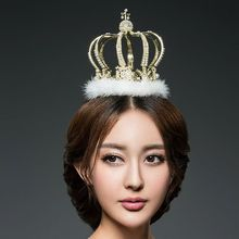 New luxury crystal pearl round crown with detachable feather Baroque round crown earring two piece wedding hair  jewelry