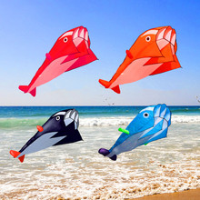 free shipping large dolphin kite nylon ripstop fabric kite line animated kites fishing inflatable kite outdoor toy Parafoil