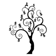 12.9cm*17cm Money Tree Dollar Decor Car-Styling Car Sticker Vinyl Black/Silver S3-5882