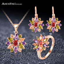 ANFASNI High Quality Rose Gold Color Jewelry Sets For Women With Multicolor AAA Zircon Luxury Elegant Jewelry Gift CST0051(China)