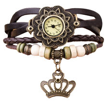 Reloj Mujer Cheap Quartz Watches Women Fashion Leather Weave Bracelet Watch Womens Dress Clock Crown Pendant Wrist Watch Relogio(China)