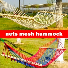 Vacation Sunny cotton rope nets mesh Hammock outdoor woods camping swing army single/double hammock casual 150kg bearing cot bed(China)