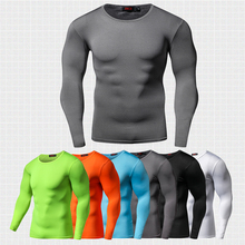 New Arrival Quick Dry Compression Shirt Long Sleeves T shirt Plus Size Fitness Clothing Solid Colorquick Dry Bodybuild Crossfit
