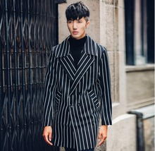 2017 new arrival british style Men's personality black white stripe novelty trench coat fashion slim clothes Men's outwear !(China)