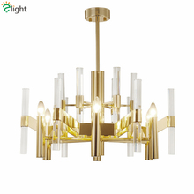New Classic Villa Led E14 Chandelier Plate Gold Metal Led Chandelier Lighting Foyer Lustre K9 Crystal Pendant Chandelier