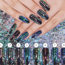 New Nail Art Glitters Transparent Chameleon Pigment Flakes Sequins Magic Powder Shimmer Dust Galaxy Decorations Manicure 2017(China)
