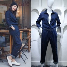 Denim Spring Auutmn Women Chic Jumpsuits New Korea Ladies Jean Casual Rompers Slim Long Sleeve Fashion Jumpsuits&Rompers MQ0113(China)