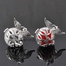 29X34mm 1Pcs  silver plated Music Magic Box Mexico Mexican Angel Openable Ball Pendant Copper Bead Inside  M001