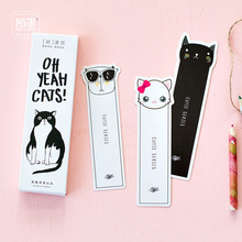 30 pcs/box Cute cat head paper bookmark stationery bookmarks book holder message card school supplies papelaria