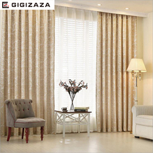 New Leaves chenille jacquard blinds fabric window curtain GIGIZAZA silver black out custom size shade european style for bedroom