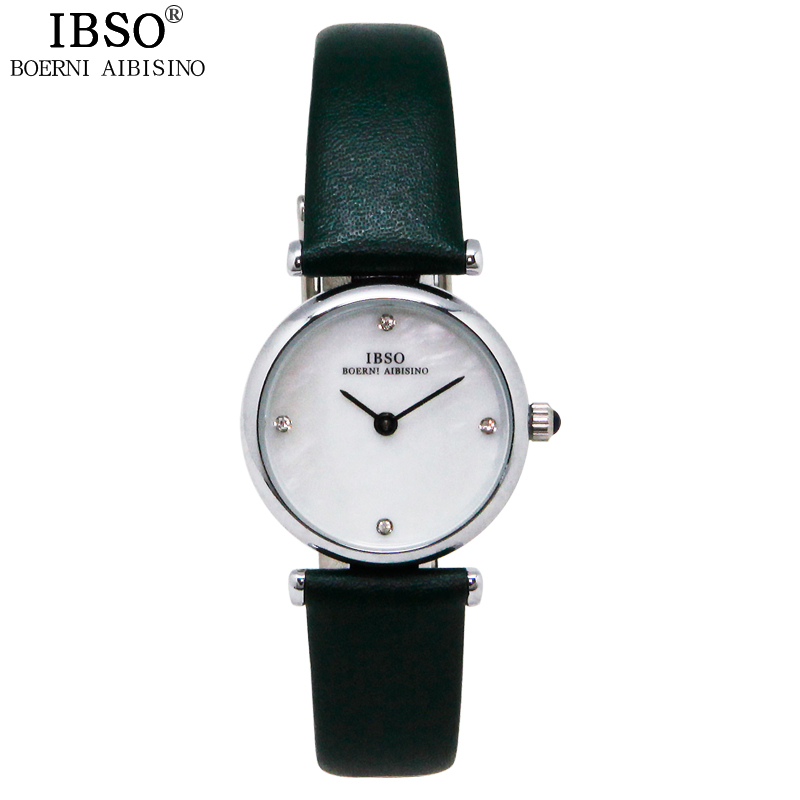 IBSO Fashion Business Crystal Diamond Women Watches Elegant Date Genuine Leather Band Womens Watches Casual Travel Montre Femme<br><br>Aliexpress