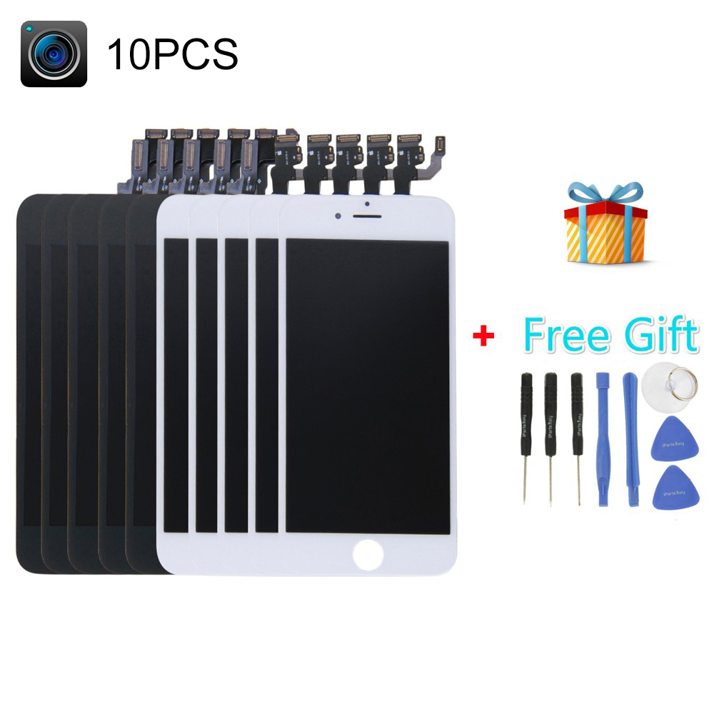 5 PCS Black + 5 PCS White iPartsBuy 4 in 1 for iPhone 6 (Camera + LCD + Frame + Touch Pad + Free Gift ) Digitizer Assembly<br><br>Aliexpress