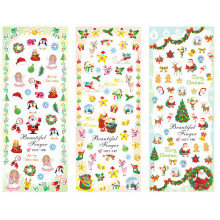 3 PACKS / LOT MOSAIC XMAS CHRISTMAS SANTA CLAUSE DEER NAIL TATTOOS STICKER WATER TRANSFER DECAL NAIL ART HOT196-198(China)