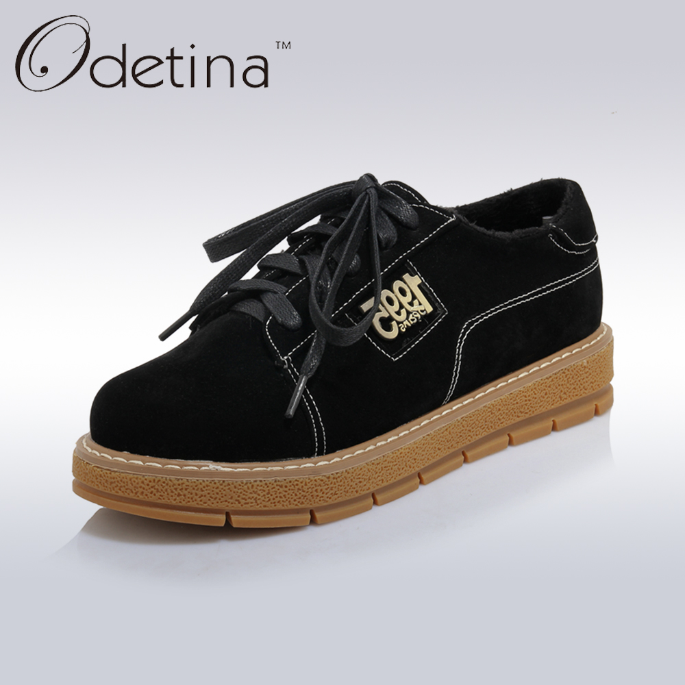 Odetina 2017 Spring New Lace Up Flat Casual Shoes Women Leather Platform Oxford Shoes Round Toe Soft Comfort Flats Plus Size<br>