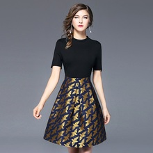 New Arrivals Women Classic Dress Evening Party Gowns Sweet Jacquard Dresses Elegant Ladies Clothes with Short Sleeve ssd042(China)