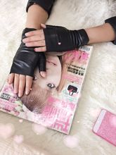 New fashion womens Half finger soft leather gloves spring and autumn short design soft velvet mitring thermal gloves(China)