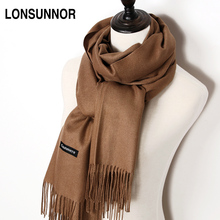 LONSUNNOR Women Solid Color Cashmere Scarves with Tassel Lady Winter thick Warm Scarf High Quality Female Shawl Hot Sale(China)