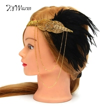 Flapper Great Gatsby Headpiece Feather Vintage Hair Headbands Head Bands Photo Shoot Accessories For Women