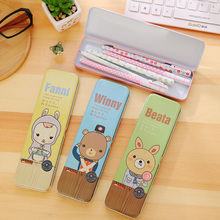 New Cute Stationery Gift Office Supplies Kawaii Cartoon Animal Tin Pencilcase Box Desktop Storage Box Tin Pencil Case Hot Sale