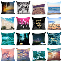 Hyha Letter Scenery Cushion Cover Beach Camping Compass Home Decorative Pillows Cover for Sofa Happy Place Take ME There