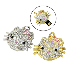 100% real capacity diamond Crystal kitty cat USB 2.0 Flash Memory necklace jewelry Pen Drive Sticks Disk 4G/8G/16G/32G/64G usb(China)