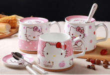 Cartoon Hello Kitty Bone Ceramic Coffee Milk Tea Mug Cup With Lid Spoon