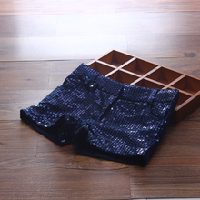 2017 Fashion Girl's Shorts Sequins Children Summer For Girl Children's Shorts Baby Shorts for Girl Pants Navy Blue Kids Clothing(China)