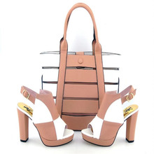 DSC09 Peach New Arrival Italian Shoes And Bag Fashion Wedding High Heels Sandal Woman Shoes And Bag Set Wholesale