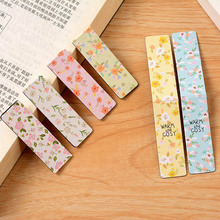 6 pcs/lot Cute Kawaii Flower Paper Bookmarks Creative Noctilucent Magnetic Book Mark School Supplies Free Shipping 3809