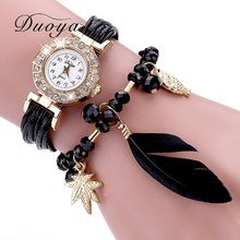 Duoya Brand Quartz Watches Women Popular Fashion Feather Pendant Luxury Bracelet Wristwatch Women Dress Lady Female Strap Watch