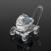Retailer+Baby Shower Favors Choice Crystal Carriage With Chorme Wheel Crystal Baby Stroller Infant Baptism Gift+FREE SHIPPING(China)
