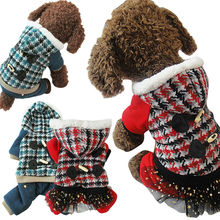 Winter Dog Cat Pet Clothes Apparel Buttons Red Hoodie Warm Sweater Coat dog Christmas clothes dog jackets